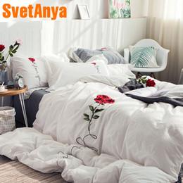 3d Bedding Set White Rose NZ - Svetanya 3d Rose Embroidery Bedding Set 100 Cotton Bedlinen Queen King Size bedsheet Pillowcases Duvet Cover Sets White