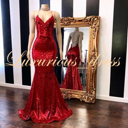7347fe4f05 Sparkly Sequin Prom Dresses Long 2019 Real Sample V-neck Sexy Backless  Custom Made Red Mermaid Formal Evening Dresses Abendkleid