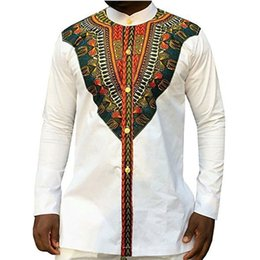 Wholesale african design shirts resale online – Tribal Ethnic Print African Dashiki Dress Shirts Men Africa Style Clothing Long Sleeve Design