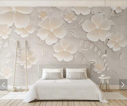 Floral Printing Paper Australia - 3D 8D Embossed Flower Wall Mural Photo Wallpaper for Living Room Bedroom Backdrop Wall Paper Room Decor Floral Murals