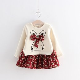 5912b1ca9d6c baby girls rabbit floral bows top match velvet stitching dresses children s  long sleeve fleece bunny ear dresses for spring autumn winter
