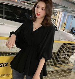 $enCountryForm.capitalKeyWord Australia - Korean version of the V-neck Lantern sleeve waist white casual shirt female chic niche design blouse 003