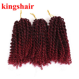 Bundle Pack Extensions Australia - 8 Inch 3 Bundles Pack Marley braiding Synthetic Braiding hair with Ombre BUG Purple and Blonde Malibob Crochet Hair extensions 100g Pack