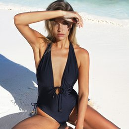 753dd99d4a0 Cupshe Best Wishes Halter One-piece Swimsuit Backless Deep V Neck Summer  Sexy Bikini Set Ladies Beach Bathing Suit Swimwear Y19062801