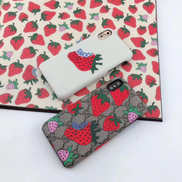 Wholesale New strawberry design pattern brand designer mobile phone case for iphone Xs max Xr X plus plus plus hard back cover A02