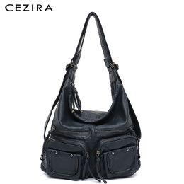 $enCountryForm.capitalKeyWord Australia - Cezira Large Soft Casual Women Bags Functional Girl School Backpack Pu Leather Bag Ladies Multi Pockets Messenger&shoulder Bag Y19061204