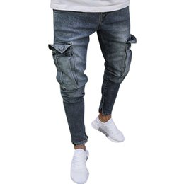Chinese  Men'S Jeans Trend Knee Hole Zipper Feet Trousers Ripped Pocket Jeans Hole Men Streetwear manufacturers