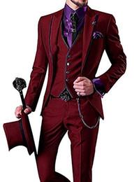 Images Fashionable Suits UK - Fashionable One Button Wine Groom Tuxedos Peak Lapel Men Wedding Party Groomsmen 3 pieces Suits (Jacket+Pants+Vest+Tie) K229