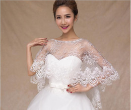Discount long sleeve lace bolero shrug 2020 Cheap Modest Whole Lace Bolero Shawl Illusion Jackets Crystal Bridal Shrug Bride Wraps Wedding Dress Accessories Sh