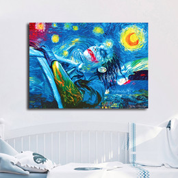 Hero Paintings Australia - Starry Night Joker Modern Marvel Super Heroes Wallpaper Art Canvas Poster Painting Wall Picture Print For Home For Living Bedroom Decoration