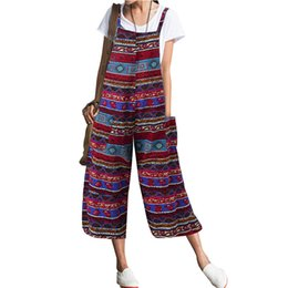 green jumpsuits Australia - Women Cotton Linen Wide Leg Jumpsuit Plus Size Vintage Print Strappy Bib Overalls Casual Bohemian Loose Playsuit Red Pink Green
