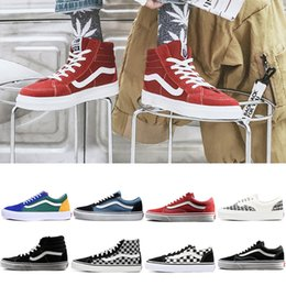 2019 Chaussures Vans old skool sk8 hi mens womens canvas sneakers black  white red YACHT CLUB MARSHMALLOW fashion Skate Casual Shoes 36-44 93025562e