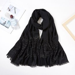 long fringe scarf wholesale Canada - 2020 Women Long Glitter Shimmer Muslim Viscose Head Wrap Hijab Scarf Female White Black Solid Color Tassel Fringe Scarves Shawls T200609