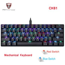 motospeed mechanical keyboard NZ - MOTOSPEED CK61 Gaming Mechanical Keyboard RGB Keyboard with Blue Red Switch Speed All Anti-ghost Keys For Computer TV BOX Gaming T200524