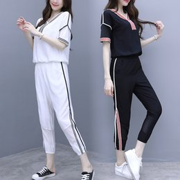 Wholesale 2019 Summer Korean Fashion Loose Stripe Sport Suit Women Casual Two Piece Set White Womens Outfits Harem Pants Outfits Set