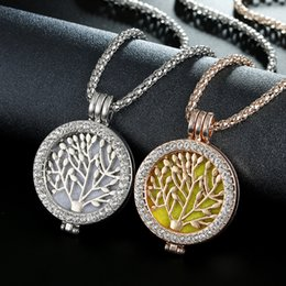 $enCountryForm.capitalKeyWord Australia - Essential Oil Diffuser Locket Pendant Tree of Life DIY Aromatherapy Perfume Necklace Women Diamond Open Work Plant Sweater Chain Necklaces