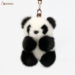 $enCountryForm.capitalKeyWord Australia - Free Shipping Real Mink Fur Pompom Panda Keychain Handmade Pendant Fur Panda Women Bag Pendant Toy Cars Adorable Plush Keychain SH190913