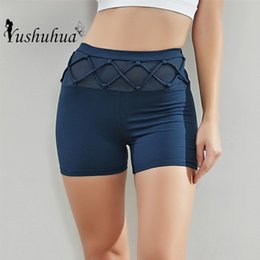gym short Canada - Summer New Women Mesh Sports Short Leggings High Waist Gym Yoga Shorts Workout Fitness Shorts Sexy INS Running Shorts T200605