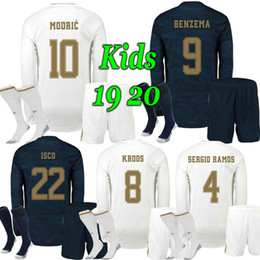 real madrid jersey long Australia - 2019 Long Sleeve Kids Kits real Madrid soccer jerseys 19 20 HAZARD camiseta de fútbol 19 20 VINICIUS football shirt kids camisa de futebo