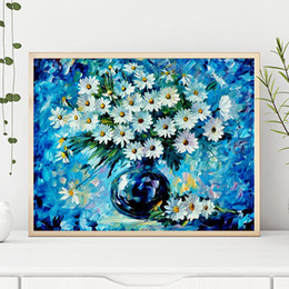 Framed canvas white Flower art painting online shopping - Famous Canvas Painting White Flower Daisies Radiance HD Poster Wall Art Oil Print Living Room Picture In the Kitchen Home Decor