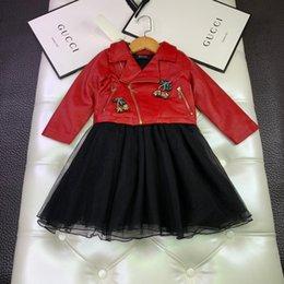 $enCountryForm.capitalKeyWord Australia - washed jackets sets kids designer Girls clothes PU leather jacket + mesh dress 2pcs nail drill cherry dress cotton inner autumn set new best