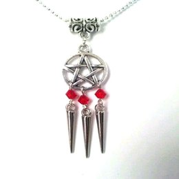 6e31e082a Pagan Wiccan Gothic Pentagram Necklace Pendant Vintage Silver Statement  Collares Witch Crystal Tassel Spike Necklaces For Women Jewelry