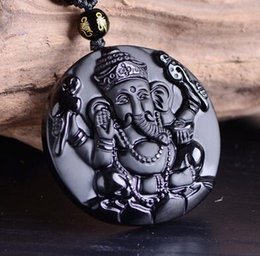 elephant carvings UK - Natural Black Obsidian Carving Elephant Wealth Nose God Pendant Free Necklace Obsidian Blessing Lucky Pendants Fashion Jewelry