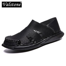 $enCountryForm.capitalKeyWord Australia - Valstone 2019 Men's Summer sandals Leather casual sneaker Microfiber casual shoes Soft comfortable for men vintage stylish Black