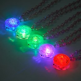 glow party decorations Australia - 50pcs lot Christmas Favor Flashing Arcylic Flower Pendants Led Light Necklaces Romantic Pearl Necklace Glowing Party Decoration