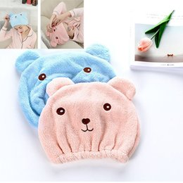 Bored Hair UK - Cute Bear Shower Cap For Women Bath Hair Wrapped Towels Microfiber Shower Hats Bath Caps Quickly Dry Hair Cap Bath Accessories