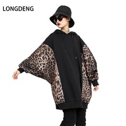 Discount womens winter clothing plus size - 2018 Full Sleeved Patchwork Leopard Pullovers Plus Size Sweatshirts Hoodies Pullover Womens Long Female Winter Clothing