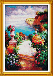 Discount paintings beaches The beach path among the flower home decor painting ,Handmade Cross Stitch Embroidery Needlework sets counted print on c