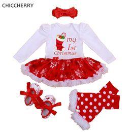$enCountryForm.capitalKeyWord Australia - My 1st Christmas Girls Outfits Tutu Lace Romper Dress Headband Leg Warmers Crib Shoes Newborn Baby Girl Clothes Infant Clothing