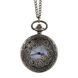 analog gear Australia - Bronze hollow gear classical parts quartz pocket watch large retro vintange embossed hollow pocket watch unisex gift watches