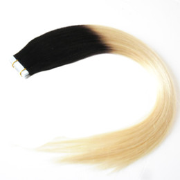 $enCountryForm.capitalKeyWord UK - Black And Blonde Virgin Ombre Peruvian Remy Hair 40 pcs PU Skin Weft Tapes In Hair Extensions Ombre Tape In Human Hair Extensions Two Tone
