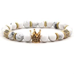 Großhandel 8mm Naturstein Armband Weiß Türkis Luxus Designer Schmuck Frauen Armbänder Rosenquarz Zirkonia Crown Armband Für Geschenk