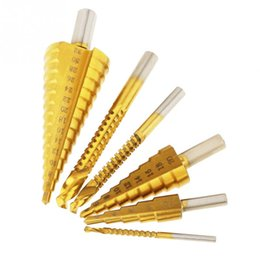 drill bits for wood NZ - 6pcs Professional Titanium Coated HSS Step Drill Bit and Saw Drills for Metal   Wood 3mm 0.12in, 6mm  0.24in, 8mm   0.21in