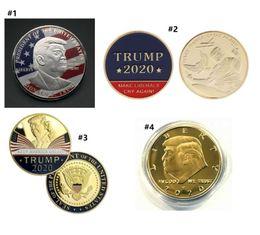 Toptan satış 2020 Oyuncak Donald Trump Para Doları ABD Başkanı Altın Folyo Hatıra Para El Sanatları Amerika Genel Seçim Metal butik E3409