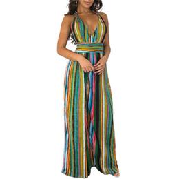 ccd92e3d4fb Plus Size Women Jumpsuit Summer Halter Backless Boho Striped Print Overalls  Loose Wide Leg Long Pants Rompers Womens Jumpsuit