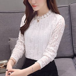 hollow lace shirts crochet Australia - Women clothing New 2020 Fashion Plus Size Women's Shirts Long sleeve White Lace Blouse Shirt Crochet Autumn Hollow Out Blusas 1E Y200422