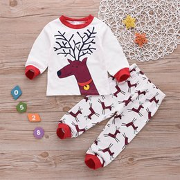 elk clothes Australia - New Autumn Baby Girls Boys Clothes 0-4T Lovely Long Sleeve Christmas Elk Print T-shirt Tops+Pants Suits Costume Set