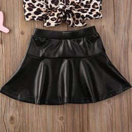 faux leather shirts NZ - Pudcoco Toddler Baby Girl Clothes Leopard Print Short Sleeve T-Shirt Tops Solid Color Ruffle Leather Mini Skirt 2Pcs Outfits Set