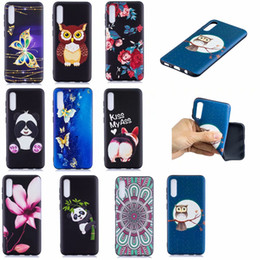 case cartoon silicone iphone galaxy NZ - Flower Soft TPU Case For Samsung Galaxy A01 A50 A30 A20 A10 Relief Emboss Animal Butterfly Owl Panda Cartoon Silicone Phone Skin Cover Coque