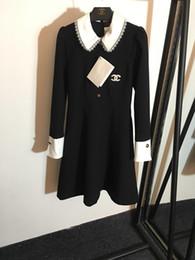 2019 Primavera Carta Negra Estampado de Solapa Manga Larga Vestido Largo de Mujer High End A Line Marca Vestido de Mujer del Mismo Estilo DH307