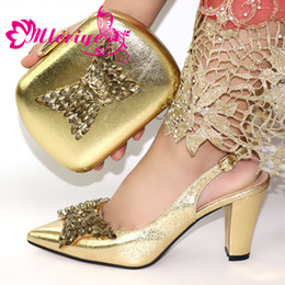 $enCountryForm.capitalKeyWord Australia - Italian Shoes With Matching Bag For Party with Stones Wedding Shoes And Bag Set High Quality Women Pumps Gold Color PU Leather