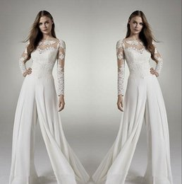 547273c64f 2019 Lace Long Sleeves Wedding Bridal Jumpsuits Jewel Sheer Neck Hollow  Back Applique Chiffon Suits Wedding Dresses Reception Party Wears