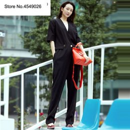 Elegant Jumpsuits Sleeves Australia - 2019 New Fashion Women Jumpsuit Casual Lady Bodycon Short Sleeve Rompers Coveralls Elegant Female Black Pocket Jumpsuits K378