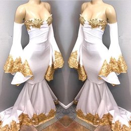 $enCountryForm.capitalKeyWord Australia - Sexy White Mermaid Prom Dresses Sweetheart Poet Long Sleeves with Gold Appliques Beaded Evening Gowns Formal Party Dress
