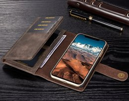 $enCountryForm.capitalKeyWord Australia - wholesale Luxury Genuine Leather Case For iPhone X 8 7 6S 6 Plus Phone Cases Card Holder 2 in 1 Detachable Flip Wallet Cover