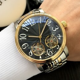 Watches Unique Design Australia - Unique double flywheel design Automatic mechanical movement Mineral glass mirror 316 stainless steel case strap Luxury mens watch With box